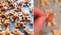 Only a mad man would dare eat these sweet, adorable teddy bear cookies innocently embracing almonds and other nuts! Bear Cookies, Cute Cookies, Cute Food, Yummy Food, Tasty, Homemade Pancakes, Food Blogs, Kids Meals, Sweet Treats