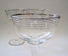 Vintage Silver Rimmed Sherry Glasses, Set of 3, Mid Century Wine Glasses, Retro Barware