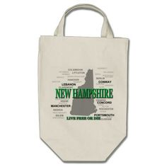 New Hampshire State Pride Map Silhouette Bags