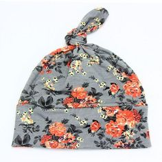 2016 Spring Autumn Flower print Cotton Baby Hat Girls Boys beanie aaf8ae2fba91