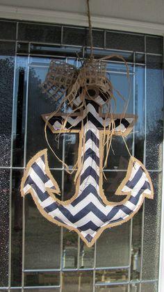 Navy Chevron Anchor Burlap Door Decor / Beach by VintageShore, $40.00