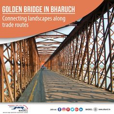 Also known as Narmada bridge; the Golden Bridge in Bharuch is known to connect Ankleshwar to Bharuch in the Gujarat state of western India. Built by the British, foundation of the bridge was laid across the Narmada River to create better access to trade & administration. Introduction of Bullet Train would further enhance the cause. Narmada River, Bullet, Connection, Bridge, Train, Landscape, Building, Foundation, British
