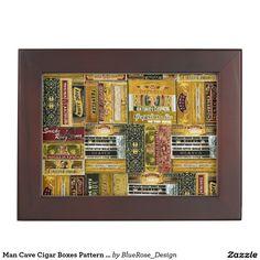 Shop Man Cave Cigar Boxes Pattern Keepsake Box created by BlueRose_Design. Wooden Keepsake Box, Keepsake Boxes, Best Gifts For Men, Cool Gifts, Mahogany Color, Box Patterns, Cigar Boxes, Black Velvet, Cigars
