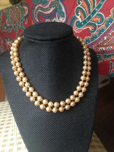 Pearl Necklace, vintage multi strand faux pearl necklace, lustrous double strand pearl necklace, vintage pearl necklace by Marvella by DuckCedar on Etsy