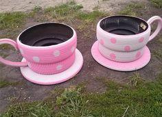 Tyre Teacup Planter