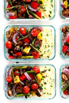 These Italian Sausage and Veggie Bowls are roasted with olive oil and herbs, served with Parmesan Garlic Orzo Pasta, and perfect for easy meal prep!