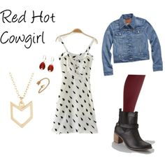 """Red Hot Cowgirl"" by thriftychicmom on Polyvore created with love just for me.  I love you @thatchicmom"