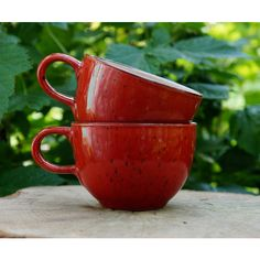 Small cups Espresso mug Kitchen gift Red mug Glazed ceramic cup set of... ($31) ❤ liked on Polyvore featuring home, kitchen & dining, drinkware, handmade coffee mugs, handmade ceramic coffee mugs, red coffee mugs, glazed mugs and espresso mugs