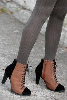 brown booties + grey tights