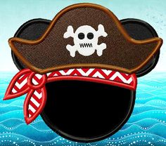 Pirate Mickey Mouse Head Applique Design dst, exp, hus, jef, pes, sew, vip, vp3, Formats Digital INSTANT DOWNLOAD on Etsy, $2.50