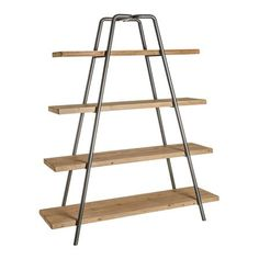 ACHICA | Wooden Shelving Unit with Natural Way Wood