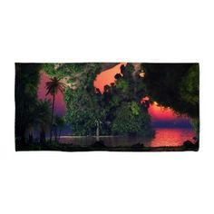 Gatterwe: Island By Night Beach Towel: A colorful tropical cave on an island by night. Where holiday feelings come up! Bath Products, Beach Towel, Cave, Tropical, Tapestry, Colorful, Island, Feelings, Night