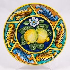 #Souvenir #Plate: #Italy. #Sicily. Two Lemons on Turquoise Background. #Caltagirone #Ceramics. Hand Made. Diameter 20 cm