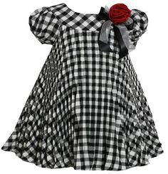 Bonnie Jean Girls Plaid Pleated Float Fall Holiday Dress Black  White 3T