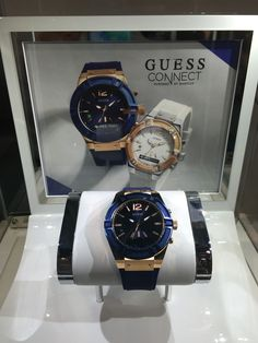 """Is it a """"smart watch"""" when there's a tiny one-line LCD display on the watch face? At least it's attractive, at least if you like bling. #ces2015 #guess"""
