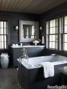 Love this layout. Easy to clean the tub.  63 Bathroom Design Ideas - Decor Pictures of Bathrooms - House Beautiful