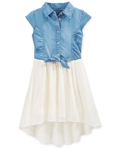 GUESS Little Girls' Denim-to-Chiffon Tie-Front Dress - Dresses - Kids & Baby - Macy's
