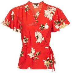 Topshop Floral print angel sleeve wrap top