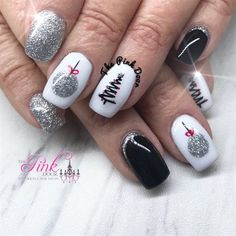 Silver And Black Christmas Nails by NailsByDedee from Nail Art Gallery Hand painted ornaments with adorable black Christmas Trees