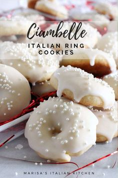 Ciambelle Cookies are Italian ring Cookies. They're lemon scented, dipped in a lemon glaze and topped with sprinkles. Ciambelle Cookies are Italian ring Cookies. They're lemon scented, dipped in a lemon glaze and topped with sprinkles. Italian Christmas Cookie Recipes, Italian Cookie Recipes, Italian Cookies, Italian Desserts, Christmas Baking, Baking Recipes, Italian Foods, Italian Wedding Cookies, Quick Recipes