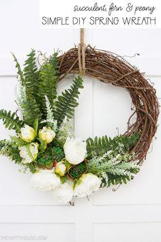 Succulent & Peony Simple DIY Spring Wreath | The Happy Housie