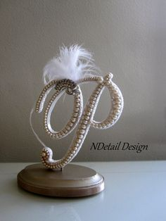 Cake Topper Monogram Pearl Lace Feather and by NDetailDesign, $105.99
