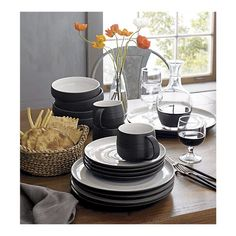 Discover dinnerware sets for family meals and formal occasions. Set the table with plates, bowls and mugs in stoneware, porcelain and other materials. Stoneware Dinnerware Sets, Tableware, Kitchenware, Serveware, Dinnerware Ideas, Modern Dinnerware, Crate And Barrel, Dish Sets, Shabby Chic Homes