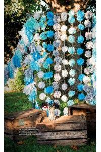 guirlande 20 Pompons Papier de Soie 4 coloris - Boule Lanterne Lampions Papier - Déco Extérieur Mariage Cérémonie-Anniversaire                                                                                                                                                                                 Plus