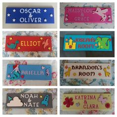 Personalised Children's Bedroom Door Name Plaque sign plate in a choice of themes. The sign is made out of MDF. The Names are cut cardboard letters and can be any colour with a cho. Bedroom Door Signs, Bedroom Doors, Door Plaques, Name Plaques, Cardboard Letters, Fairy Land, Diy Signs, Pdf Sewing Patterns, Kid Names