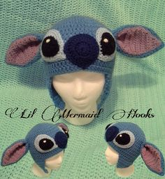 Inspired by Disney's Lilo and Stitch. Stitch Crochet Beanie Hat. Who do I know that crochets?!? Seriously????