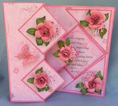 Fold back Pop Up Floral Card with Roses by - Cards and Paper Crafts at Splitcoaststampers Fun Fold Cards, Pop Up Cards, Folded Cards, Pop Up Card Templates, Easy Magic Tricks, Beautiful Handmade Cards, Unique Cards, Card Tricks, Card Patterns