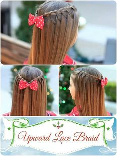 An upward lace braid! So easy but love the added look of the hair pulling upwar. An upward lace br Cute Girls Hairstyles, Down Hairstyles, Pretty Hairstyles, Braided Hairstyles, Hairstyle Braid, School Hairstyles, Toddler Hairstyles, Wedding Hairstyles, Braided Updo