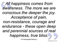 All happiness comes from awareness - Sri Nisargadatta Maharaj - Quotes and sayings