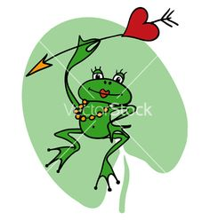 cartoon frogs | Cartoon frog princess with heart and arrow vector 955921 - by poulin
