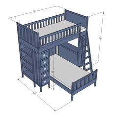 Plan only shows how to do top bunk though not supports...