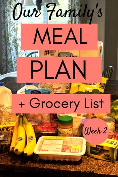 Grocery Haul and Meal Plan – Week 2 – Organizational Toast Healthy, budget friendly meal plan for a family of 4 with complete grocery list. This is such a great meal plan for busy moms with easy and quick dinners. Includes breakfast, lunch and dinner! Family Meal Planning, Budget Meal Planning, Cooking On A Budget, Family Meals, Easy Cooking, Frugal Meals, Budget Meals, Easy Meals, Easy Budget