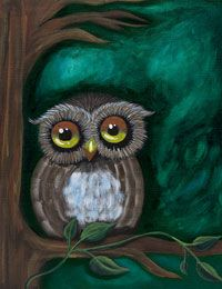 Owl canvas painting party design. #socialartworking