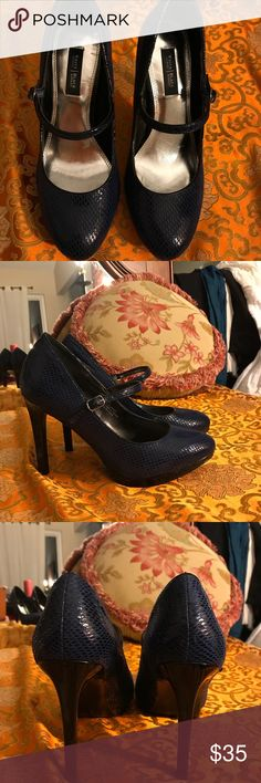 NWOTWhite Hse Blk Mrkt Navy blue Leather heels sz7 NWOT White and Black size 7 navy blue patent leather heels with front strap..  New condition...gorgeous heel White House Black Market Shoes Heels