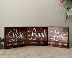 Live Laugh Love Wood Sign  Live Every Moment  by TimelessNotion
