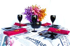 Linen, Vases and Floral Design - Decor It Events. Vogue Style Linen with Raspberry napkins in Black Gloss Fish Bowl #centerpiece #tablelinen #styling #newspaper #linen #blackandwhite #weddings #events #wedding www.decorit.com.au (41)