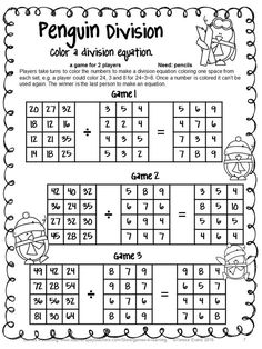 Division Facts- Divide to solve the problems. Then search