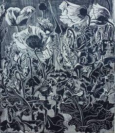 """Poppies,"" original figurative print by artist M Levittoux available at Saatchi Art #SaatchiArt"