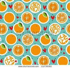 Seamless pattern with oranges and hearts - stock vector