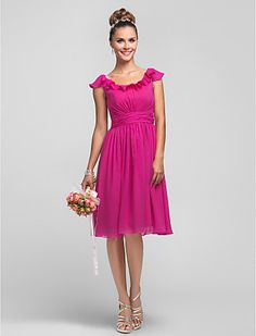 A-line Princess Scoop Chiffon Bridesmaid Dress With Ruffles(605548) - GBP £ 69.59