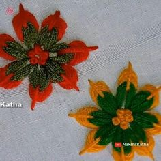Hand Embroidery Flower Designs, Basic Embroidery Stitches, Hand Embroidery Videos, Embroidery Stitches Tutorial, Embroidery Flowers Pattern, Creative Embroidery, Simple Embroidery, Crewel Embroidery, Beaded Embroidery