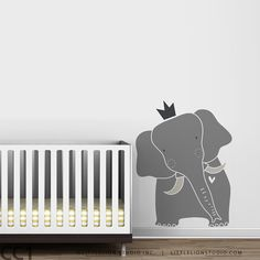 Baby Zoo King Elephant Wall Decal - Gray Elephant, Blue Elephant, White Elephant - Nursery Wall Decor