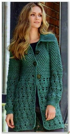 Bonito Crochet Coat, Crochet Cardigan Pattern, Crochet Jacket, Knitted Poncho, Crochet Clothes, Knit Shirt, Sweater Shirt, Crochet Patron, Junghans