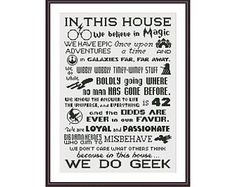 Funny Cross Stitch PDF Pattern - In This House We Do Geek