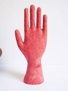 Vintage hand Sculpture handmade paper wrapped Red by SalvageRelics