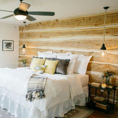 Fixer Upper season Home Decor for Paw-Paw's House ❤️ cedar plank wall+pendants Plank Walls, Home, Home Bedroom, House, Ranch House, Contemporary Bedroom Furniture, Fixer Upper Bedrooms, Trendy Home, Cedar Walls